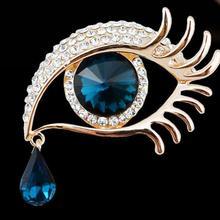 Fashion Pendant Drops Long Eyelashes Great Eye Care Tools Jewelry Crystal Gold Rhinestone Eye Brooch
