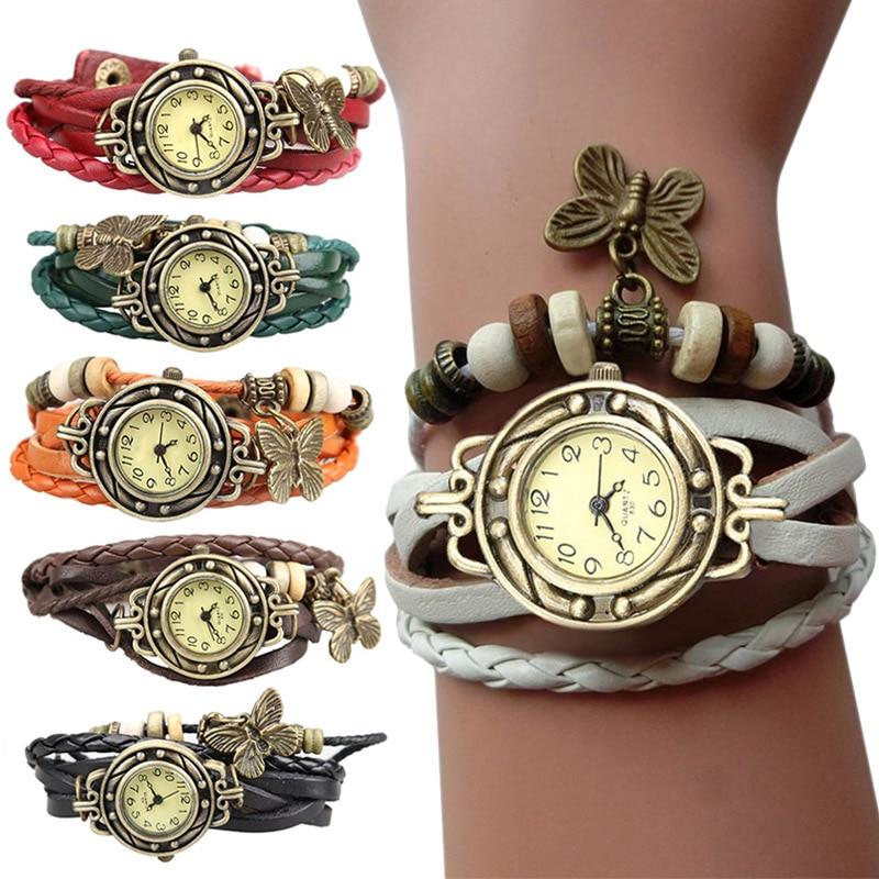 Unique Butterfly jewelry Watch Clock Women Vintage Retro Riv