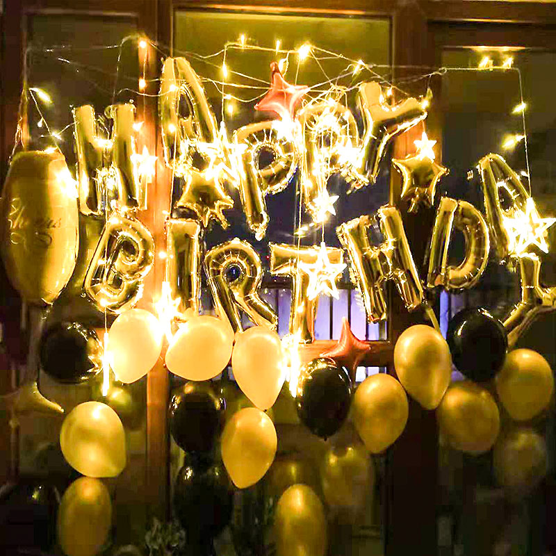 Black Gold Happy Birthday Banner Balloons With Helium Number Foil Balloon for Baby Party Decorations 16