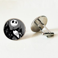 The Nightmare Before Christmas Cartoon Glass Cufflinks Jack Skellington Movie Poster Cufflinks Gothic Skull shirt Cufflinks(China)