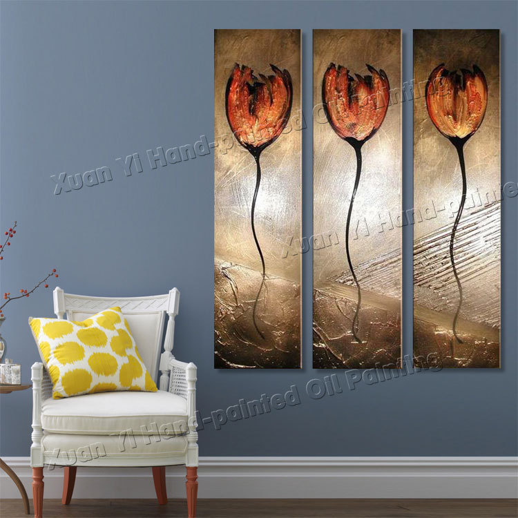 3 panel paintings Hand Painted Top Quality Oil Painting Modern Wall Art on Canvas The Elegant Flower Texture Palette Knife