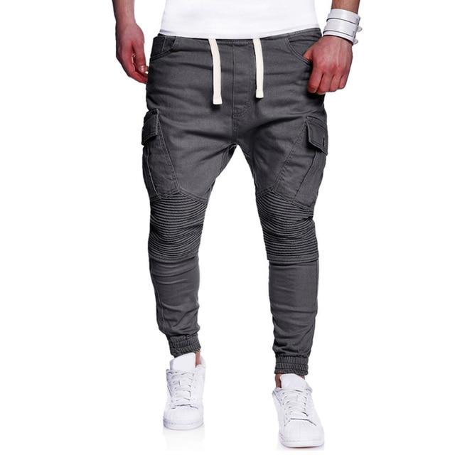 Solid Multi-pocket Pleated Sweatpants