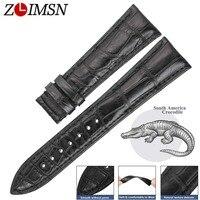 ZLIMSN Brand New Genuine Crocodile Leather Watch Black Band Belt 14mm 24mm Alligator Watchbands Suitable For
