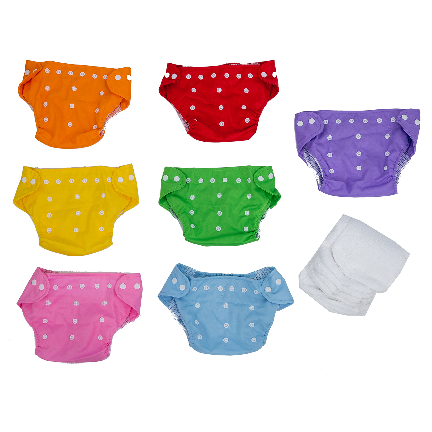 7x Reusable Adjustable Washable Baby Soft Cloth Nappy Diaper One Size +7 Inserts