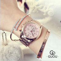 GUOU Top Luxury Diamond Watch Auto Date Rose Gold Watch Women Watches Stainless Steel Fashion Women
