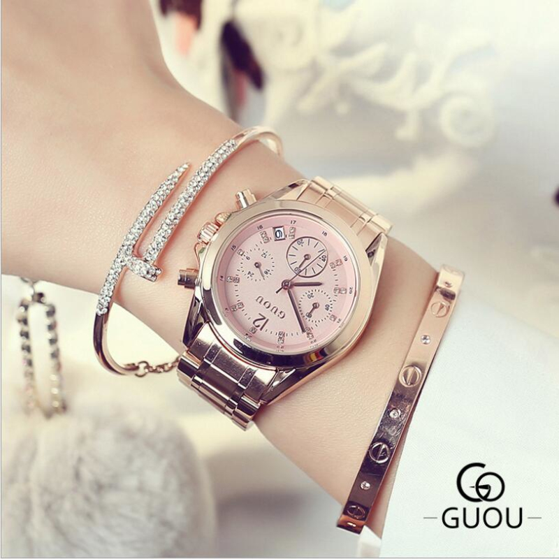 GUOU Top Brand Luxury Diamond Watch Auto Date Rose Gold