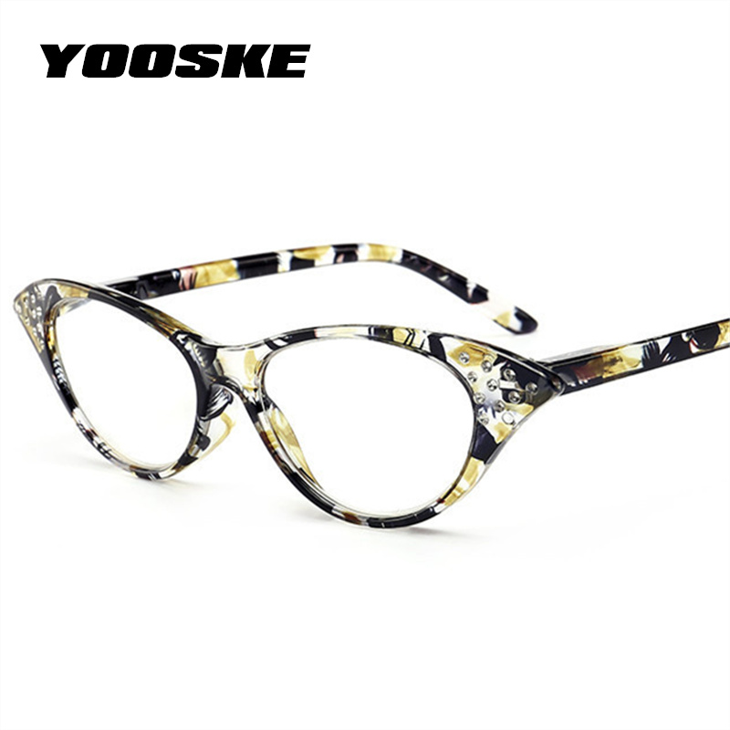 YOOSKE Ladies Imitation Diamond Cat Eye Reading Glasses Women Female Fashion Hyperopia Glasses for Reader Vinatge Eyeglasses