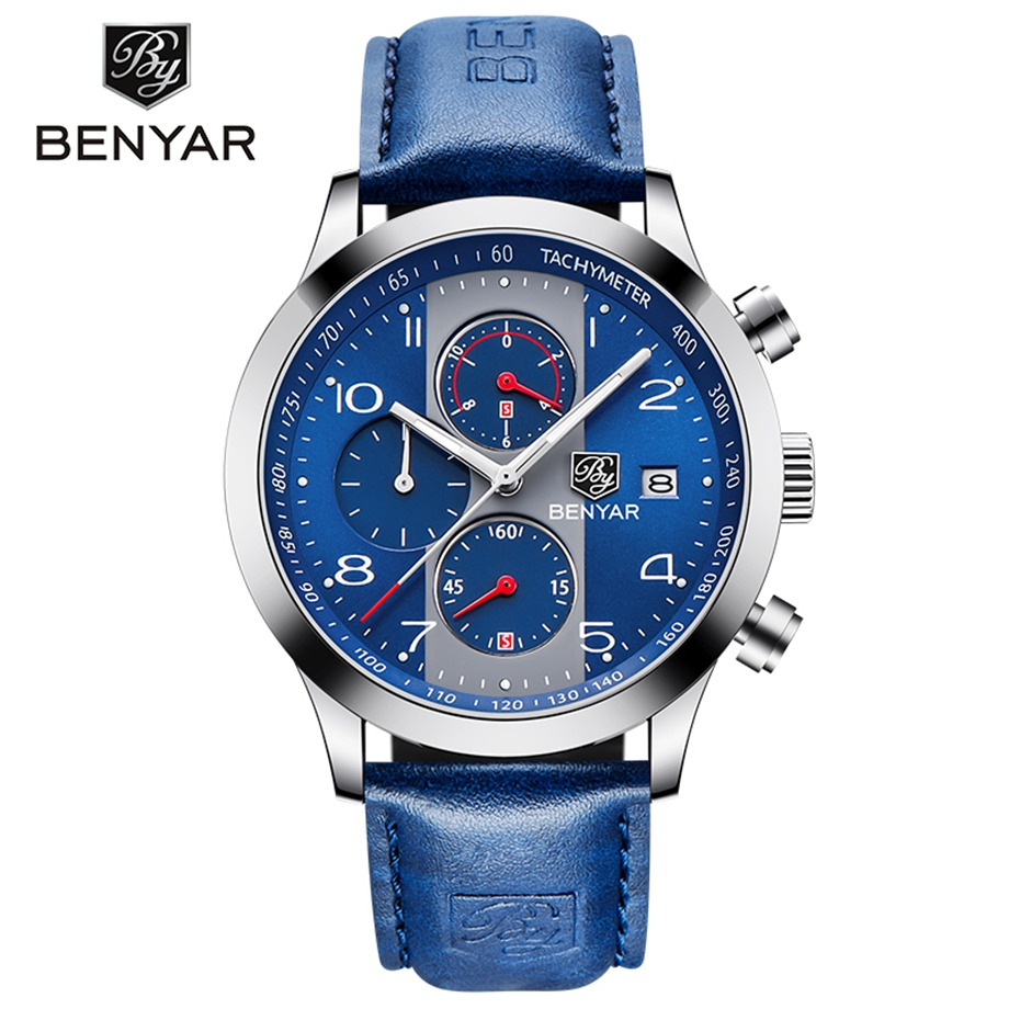 2018 Top Brand BENYAR Fashion Chronograph Sport Mens Watches Luxury Quartz Watch Reloj Hombre Clock Male hour relogio Masculino olevs fashion mens sport watches auto date rose gold leather quartz watch reloj hombre 2017 male clock hour relogio masculino