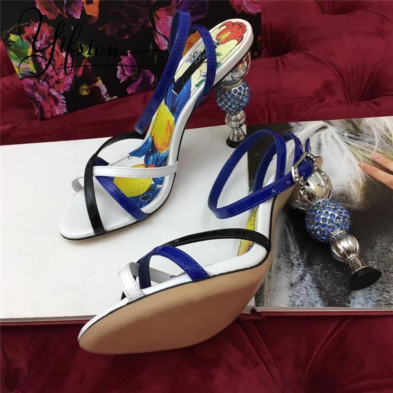Cuir As Sexy Ouvert Talons Femme 2019 Ouvertes Sangle Nouvelle Mode En D'été Yifsion Pour Pic Chaussures À as Étrange Sandales Femmes Véritable Pic Hauts W4qRIav