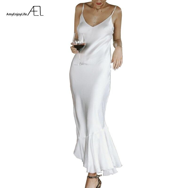 AEL Ruffles Slip Dresses Woman Summer Beach Sexy Fishtail Dress Apricot white red Select
