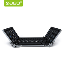 Sago HB066 Metal Folding keyboard Bluetooth 3.0 mini style Ultra Slim wireless with Carry Pouch for Windows IOS Android phones