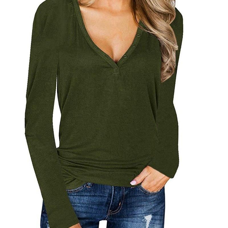 Basic T Shirt Button V-neck Ladies Top Long Sleeve T Shirt Women Slim Casual Loose Women's Bottoming Shirt Female Plus Size
