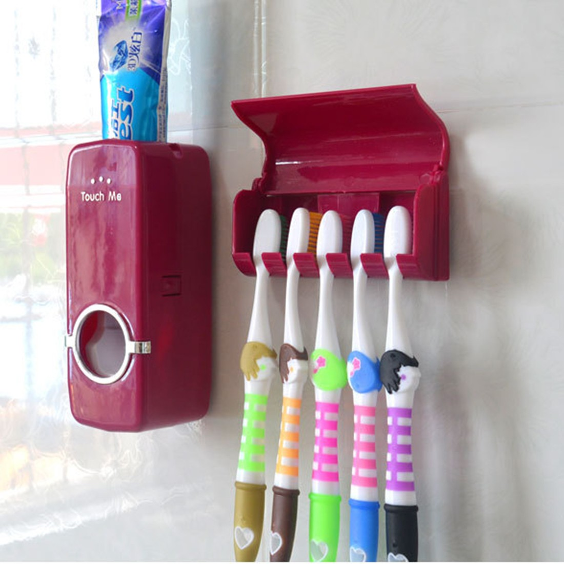 New Toothpaste Dispenser 5 Toothbrush Holder Set Wall Mount Stand Toothbrush Family Tools Accessories Bathroom Products