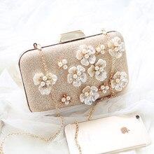 2017 luxus Perle 3D Blumen Design Trendy frauen Kupplungen Hochzeit Abendgesellschaft Taschen Elegante Damen Messenger Kupplung Handtaschen