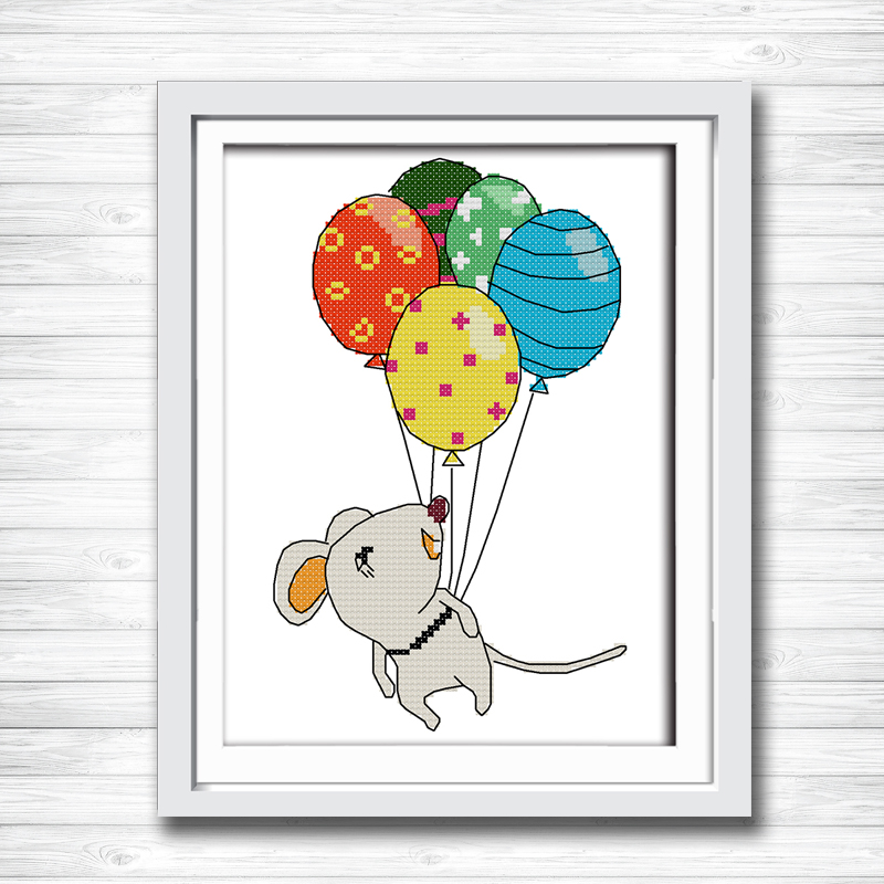 Cute Mouse Cartoon Animal Diy Painting Counted Print On Canvas Dmc 14ct 11ct Chinese Cross Stitch Embroidery Kits Needlework Set Home & Garden