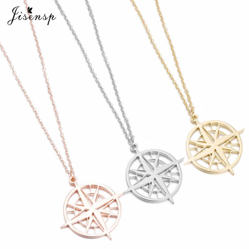 Jisensp Fashion Jewelry Gold Compass Pendant Necklace Women Minimalist Clavicle Chain Choker Necklace Women Gift erkek kolye