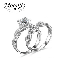 Moonso New Fashion girl popular romance  Plated Ring set pair Bride Wedding  Engagement AAA Zircon for Women Jewelry T0751