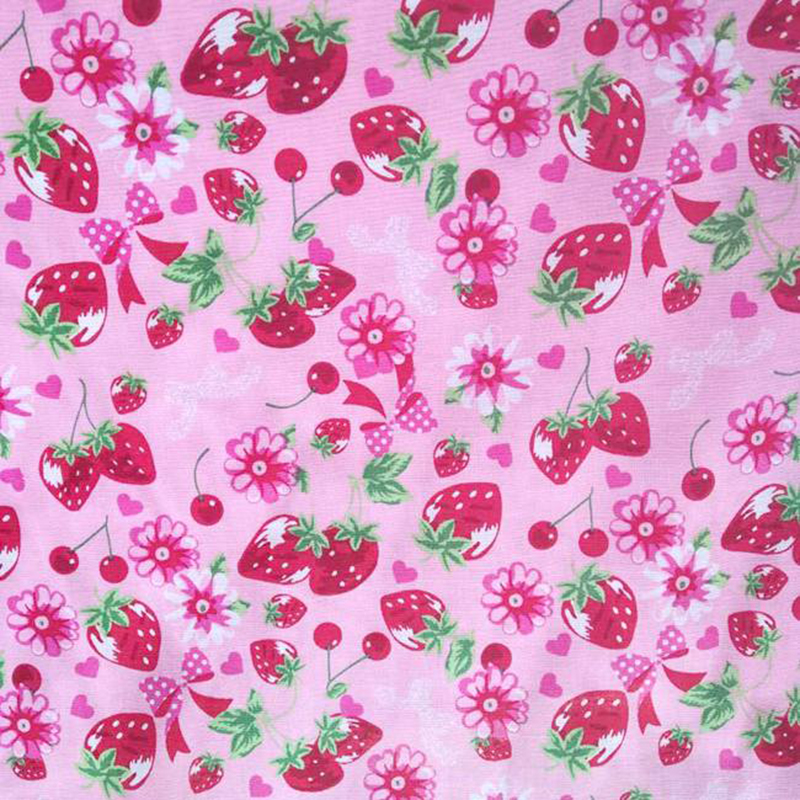 Wide 140cm Pink Bottom Strawberry Heart Printed Cotton Fabric Quilting Cloth Patchwork Sewing Material Diy Girl Dress& Shirt