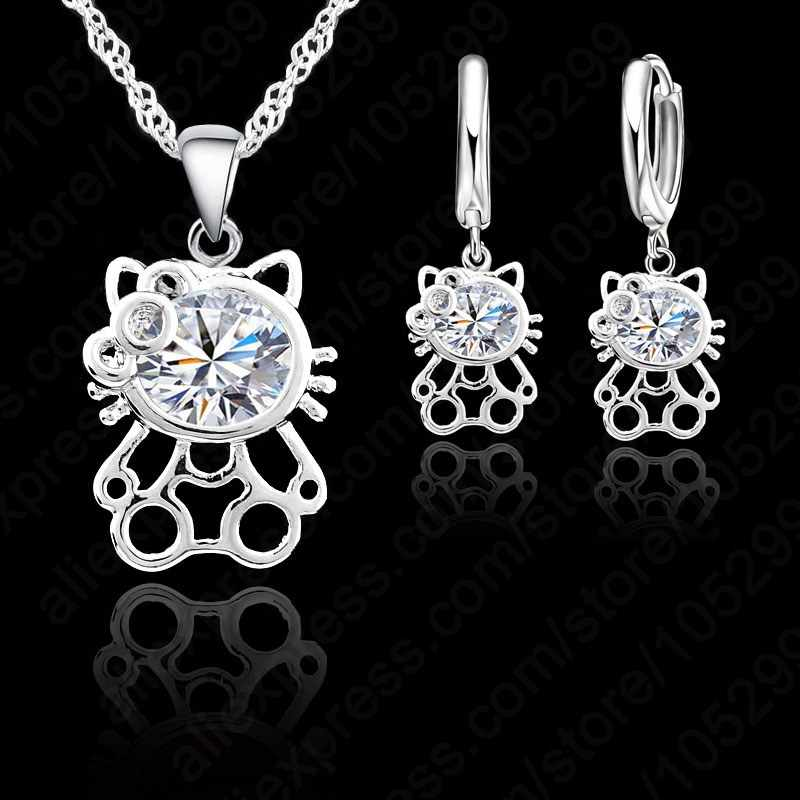 JEXXI 2018 Exquisite S90 Silver Color CZ Zircon Crystal Kitty Necklace Earring Jewelry Set For Woman Girls Lovely Gift