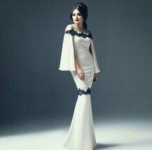 Weg von der Schulter Mermaid Long Sleeve Dubai Kaftan Arabischen Stil Weißen Abendkleid mit Schwarze Spitze Appliques Formal Pary Kleid
