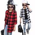 Chica Camisa de Algodón Casual Niños Chicas Camisetas de Manga Larga Ropa de Los Niños Muchachas de la Marca Plaid Blusas Larga Longitud Tapas de Las Adolescentes
