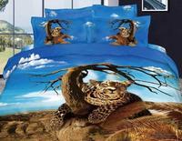3D леопардовым принтом дерево постельных принадлежностей королева размер пододеяльник покрывало кровать в мешок листа мода простыня хлопо...