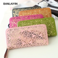 Fashion New Hollow Out Pretty Wallets For Women PU Leather Zipper Purse