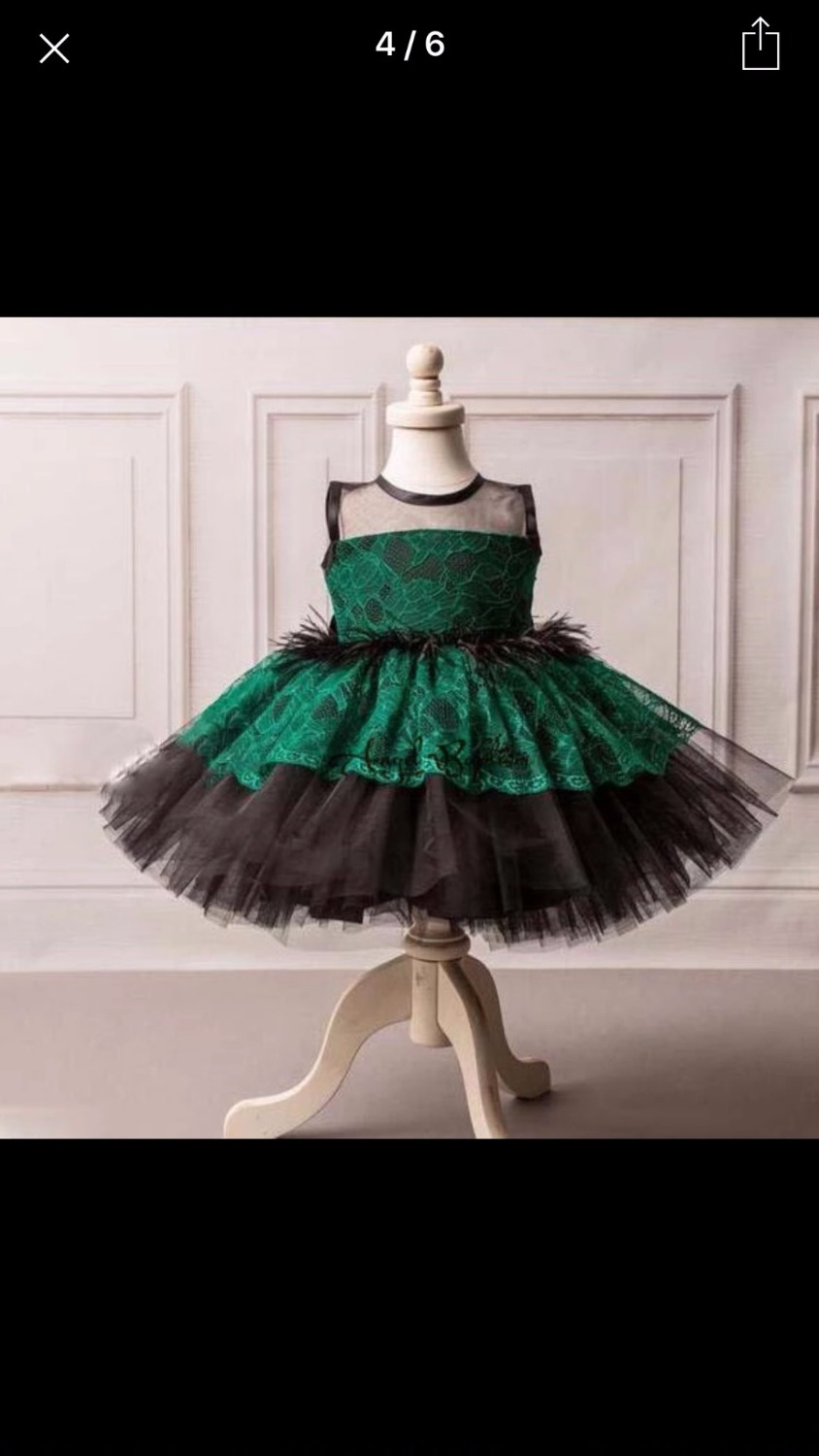 Green Feather Skirt  tutu dress Ball gown dress