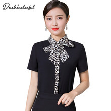 summer short sleeve blouse tie women fashion office lady  black Leopard shirt turn-down collar ladies splice tops Dushicolorful