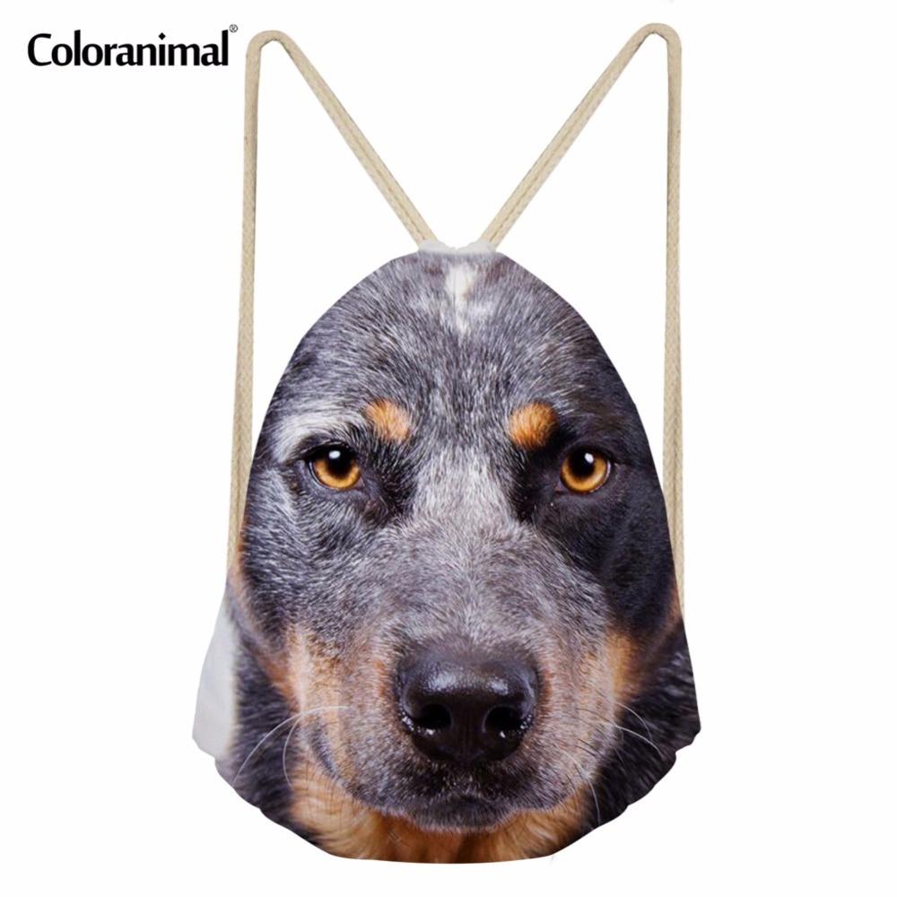 Coloranimal Mini Light Reusable Travel Beach Drawstring Bag Cute Pet Dog Cattle Dog Pattern Women Men Backpack School Bookbags