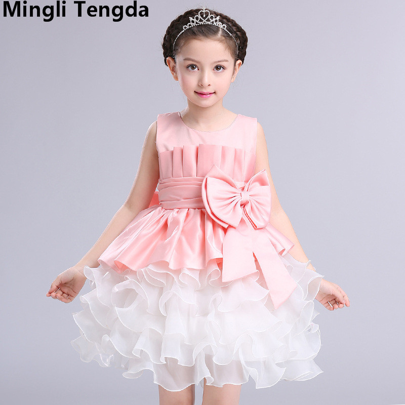 Pink O Neck   Flower     Girl     Dresses   Satin   Girls   Gown   Dresses   with Bow Sweet Elegant   Flower     Girl     Dress   Party   Dress   2018 Mingli Tengda