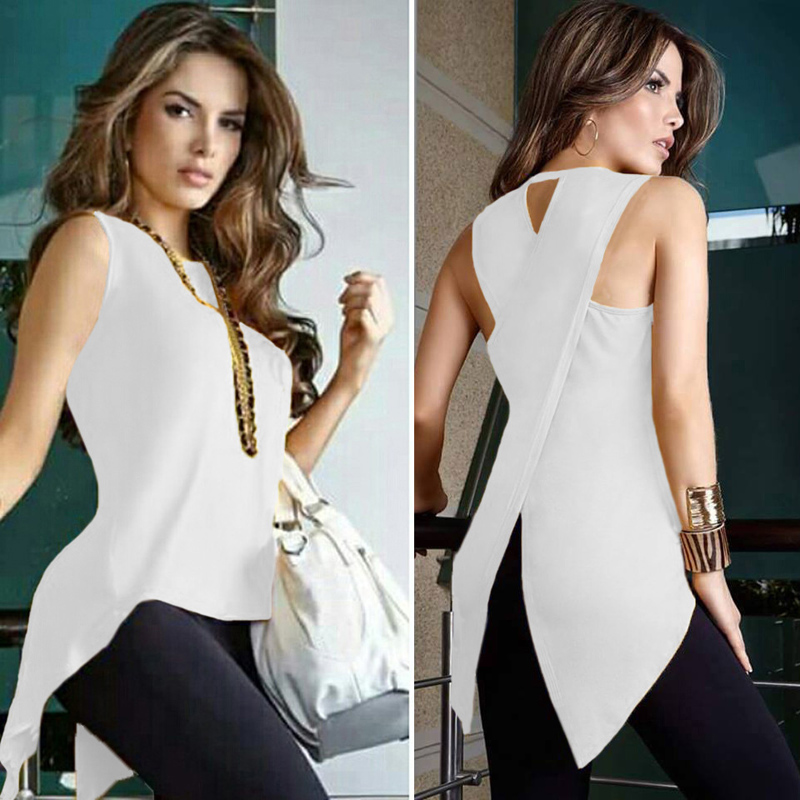 Cross Ladies Top O-Neck Woman White Blouse Shirt Sleeveless Top