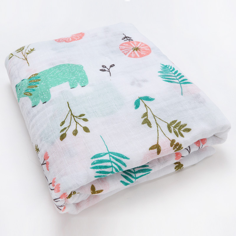 Новинка; хлопковые Супермягкие подгузники из муслина; детское одеяло; Банное полотенце; пеленка; аксессуары для детской кровати; детское одеяло для новорожденных - Цвет: Animals leaves