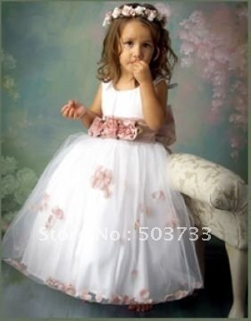 Cute Appliqued Petal Sash Flower Girls Dresses Little Girl Dress ...