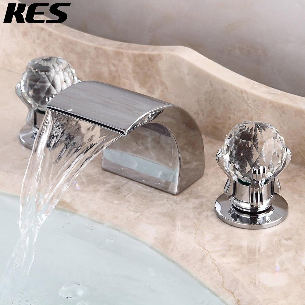 kes waterfall deck mount tub faucet roman tub filler 2 handle bathtub faucet 3 hole polished chrome l5303