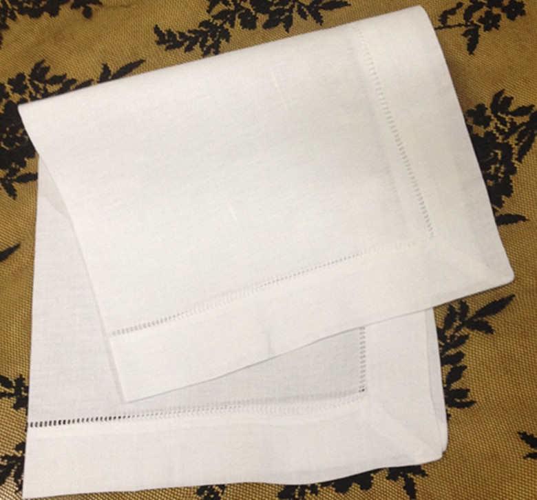 """Unisex de moda pañuelos 12 unids/lote Size22 """"de lino blanco Hemstitched pañuelo toallas negocios pañuelos para ocasiones especiales"""