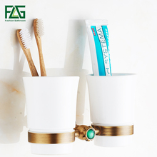 FLG Cup & Tumbler Holders Brass Antique Tumbler Toothpaste Toothbrush Holder With Double Ceramics Cups Bathroom Accessories G130 стоимость