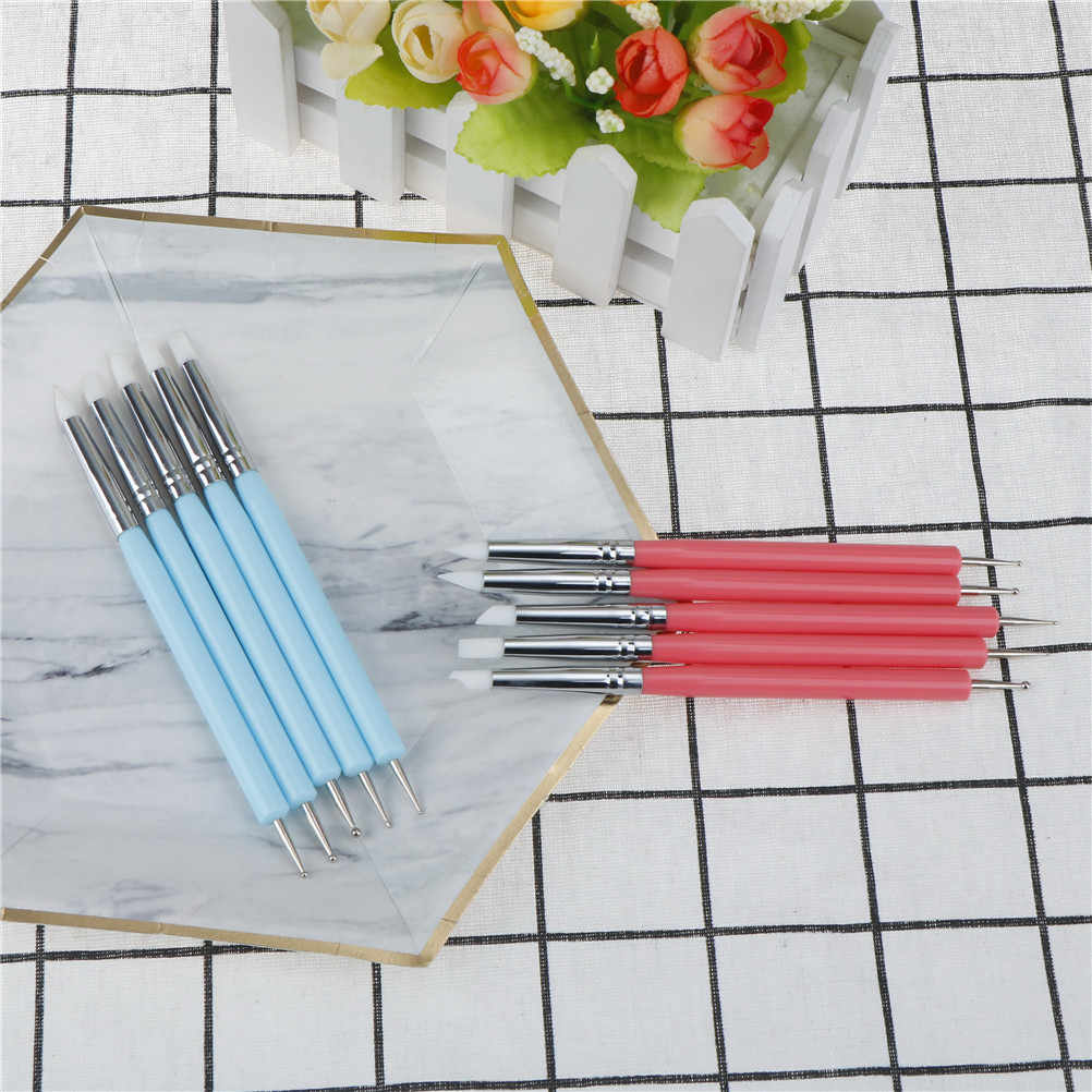 5Pcs/set  Pottery Clay Ball Styluses Tools Polymer Clay Sculpture Tool Nail Art Tools Silicone Color Shapers Dotting Tool 2 Way