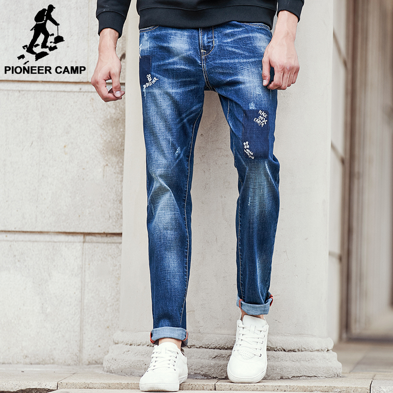 Pioneer Camp ripped Jeans men brand clothing high quality male jeans fashion casual mens denim pants trouser for men 611043 classic mid stripe men s buttons jeans ripped slim fit denim pants male high quality vintage brand clothing moto jeans men rl617
