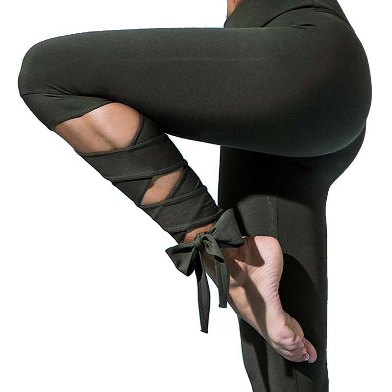 Elegant Women Ballet Leggings Sporting High Elastic Fitness Solid Bandage Cross-line Leggings For Women Workout Cropped Pants