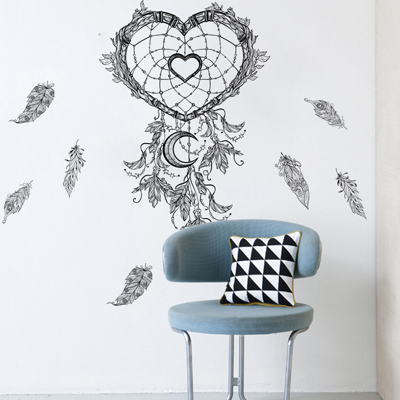 % Flying Feathers Dream Catcher Wall Stickers For Living Room Home Decorations DIY Indian Style Mural Art PVC Sweetheart Decals(China)
