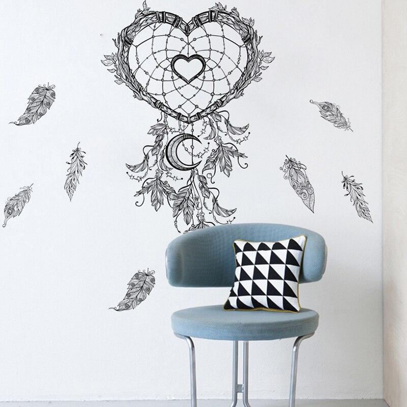 % Plumes volantes attrapeur de rêves Stickers muraux pour salon décorations pour la maison bricolage Style Mural indien Art PVC autocollants chérie