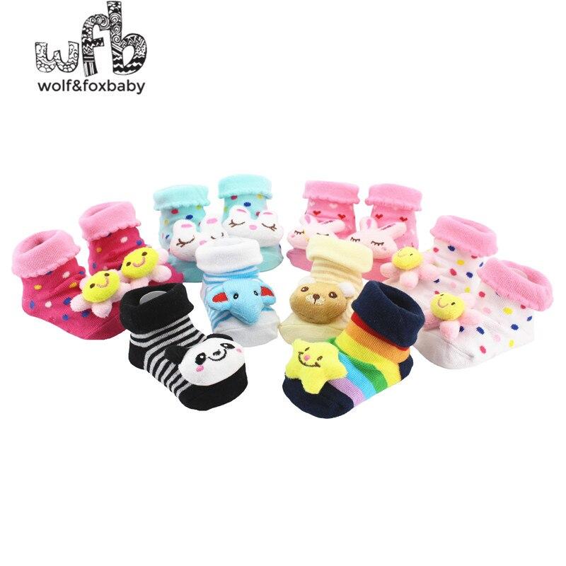 Einzelhandel 2 paare/paket Kinder Baby Unisex Neugeborenes Tier-karikatur-socken-baumwollschuhe Booties Stiefel 0-10 Mt