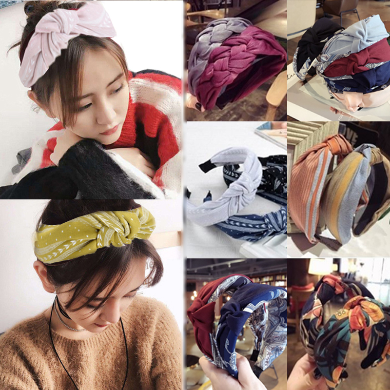 LNRRABC 1PC New Fashion Women Girl Cloth Twist Sweet Hairband Diverse Hair Band Floral Bowknot Headband Hair Accessories
