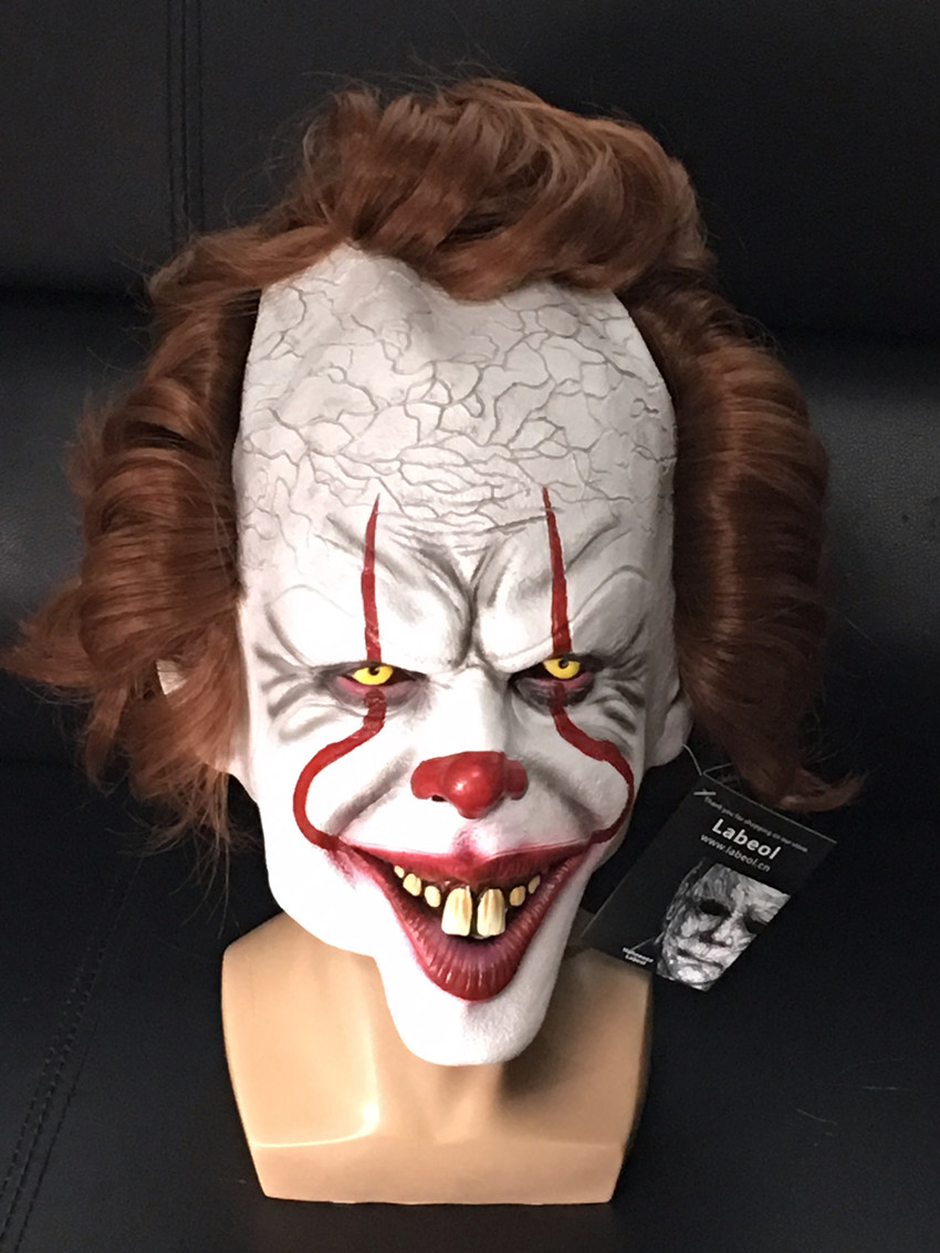 Adult Stephen King/'s IT Clown Pennywise Mask Full Head Halloween Cosplay Scary