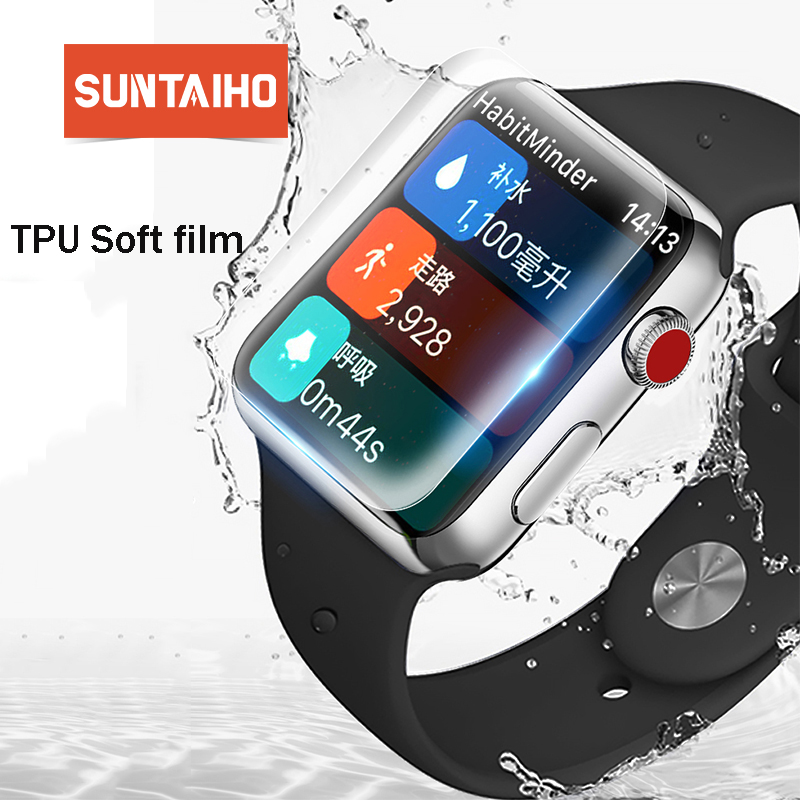 Suntaiho TPU Full Cover HD Screen Protector Film for Apple Watch Series 4 44mm Protector Film for iwatch 40 Series4 Screen Cover