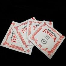 Высокое качество 4 шт. полный набор Пособия по немецкому языку Pirastro tonica скрипки струны Комплект шаровым окончанием, E, красные/зеленые/голубые/желтые/D, набор 3/4-4/4 o строка