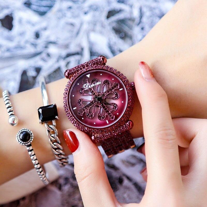 Dimini Women Watches Luxury Brand Lady Crystal Wrist Watches Ladies Fashion Quartz Gold Watches Woman Female Relogio Feminino