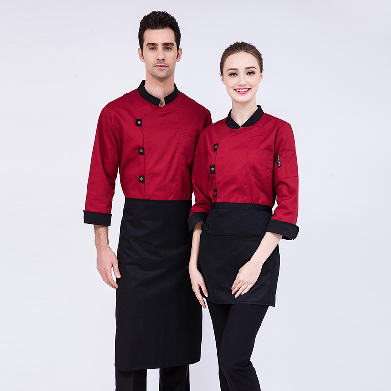 Newly Large Buttons Chef's Long-Sleeved Jacket Hotel Restaurant Unisex Coat Kitchen Men Top Waiter Work Clothes Uniform Overalls