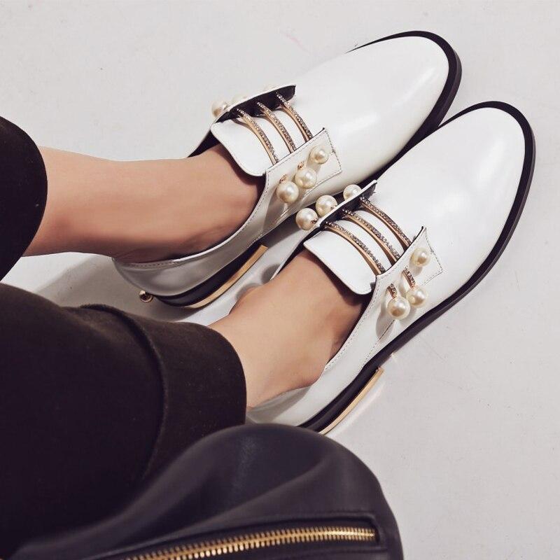 Perles Creepers Femme Taille Chaussure Chaussures D28 Mocassins Dames La Vintage Cuir Slip Métal Sur Plus white D28 Black Appartements 43 Casual En Richelieus wFtaO
